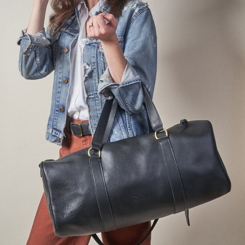 Leather Gym Bag - Black