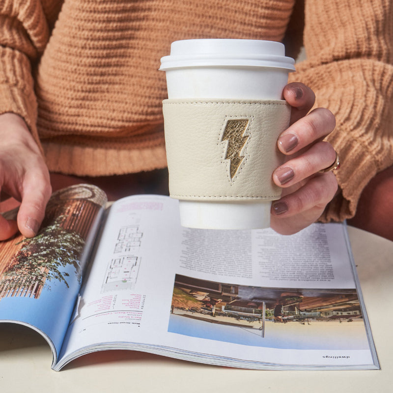 Lightning Coffee Sleeve - Cream