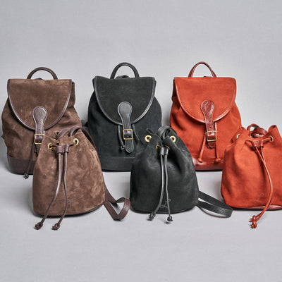 Small Suede Drawstring Bag - Cinnamon