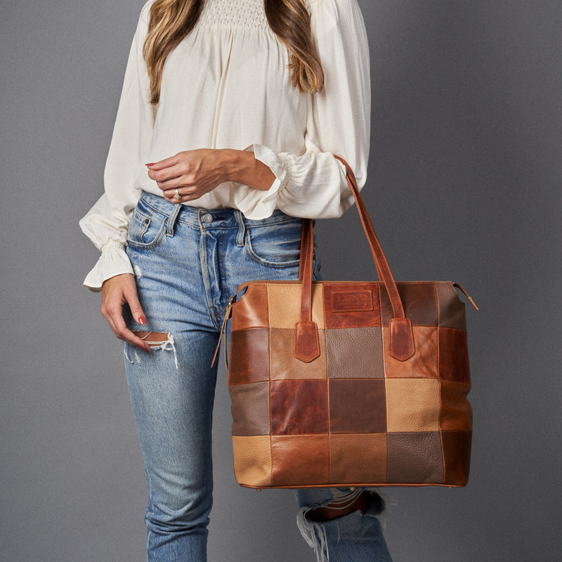 The Patchwork Tote - Brown Leathers