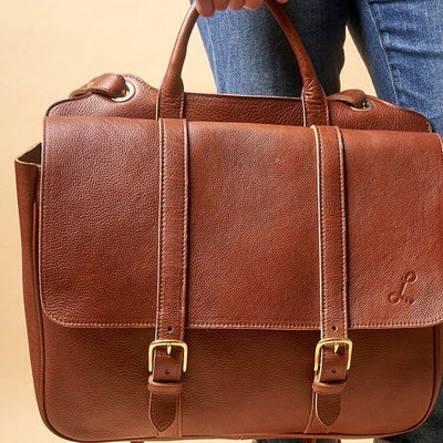 Two Handled Satchel - Tumbled Brown