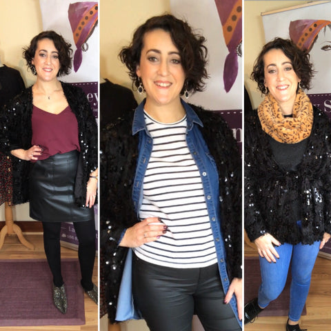 Shop Your Wardrobe 1 Sequin Cardigan 3 Looks Lainey Style