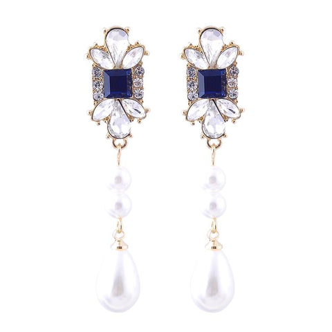 Della Vintage Gem and Pearl Drop Earring