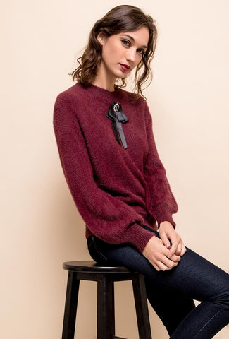 Agata Burgundy Brooch Detail Jumper