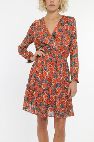 Amara Frill Dress in Rust