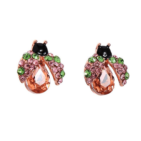 Tillie Rose Gold Ladybird in Flight Earring