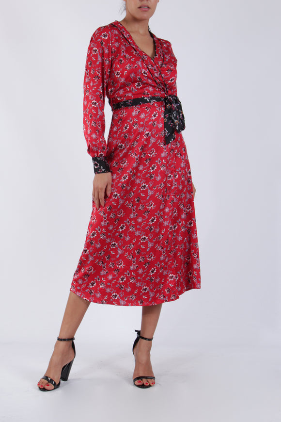 Emma Red Floral Print Wrap Dress