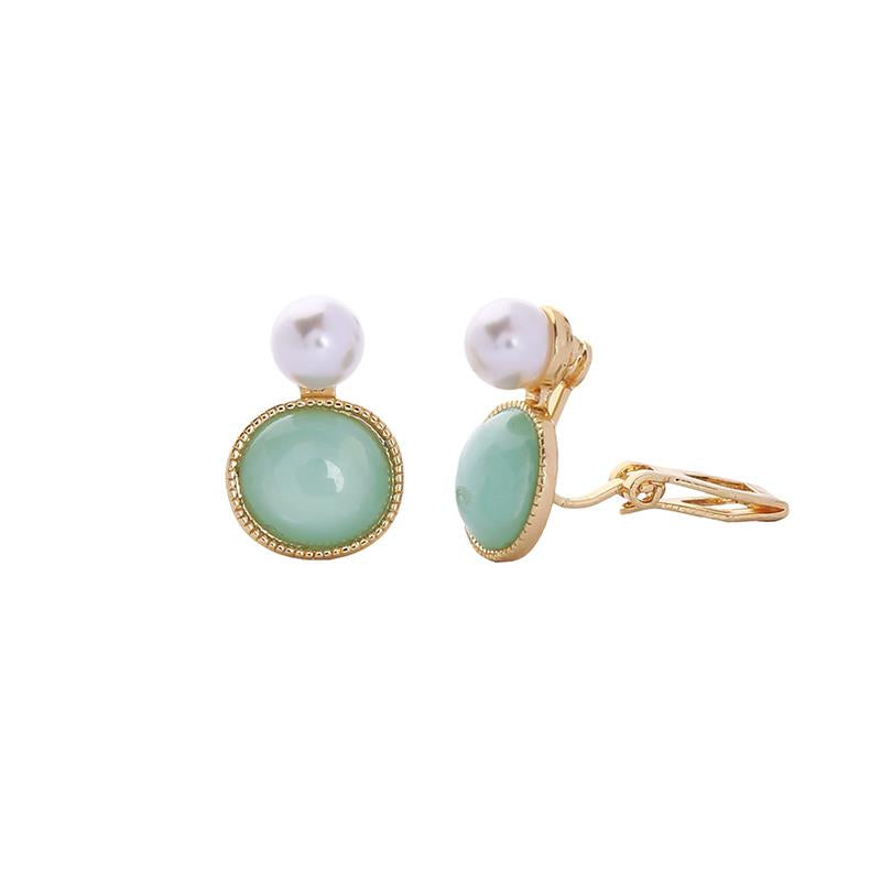 Louise Pearl and Resin Clip On Earring Mint and Gold