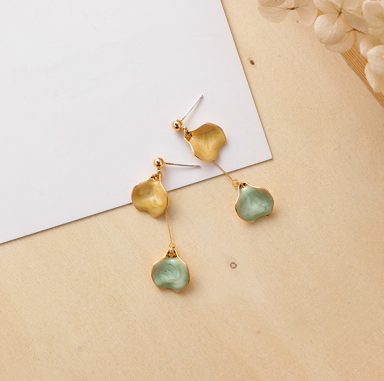 Edith Twin Drop Yellow and Mint Earring