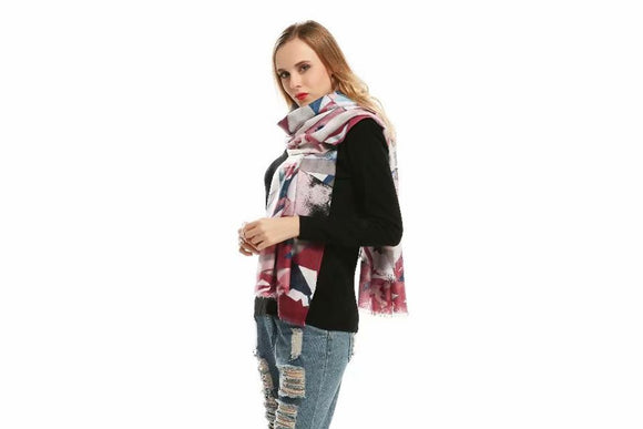 Charlotte Abstract Burgundy & Grey Print Scarf