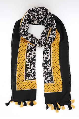 Adele Yellow and Black Tassel Scarf