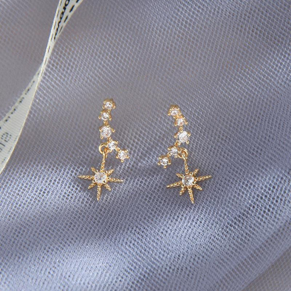Aine Crystal Arc Drop Star Earring Gold