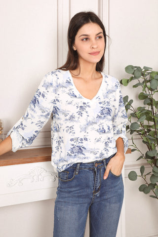 Alma Blue Floral Top