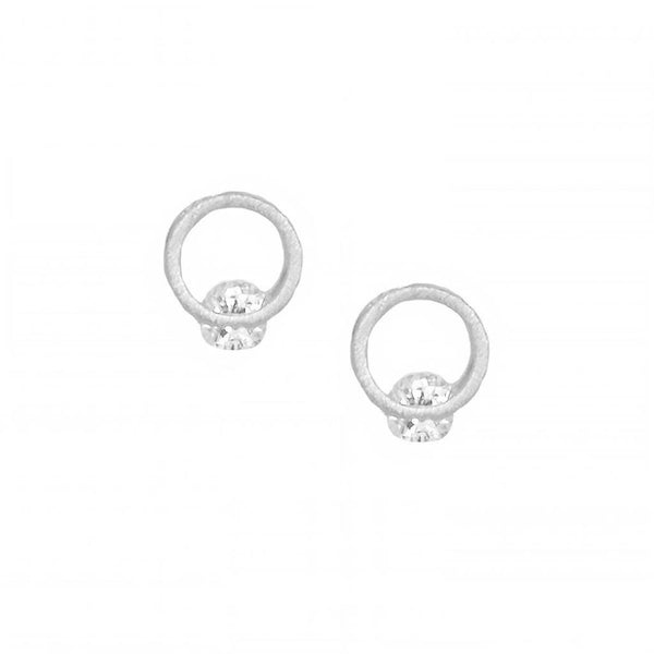 Alva Single Crystal Circle Earring Silver