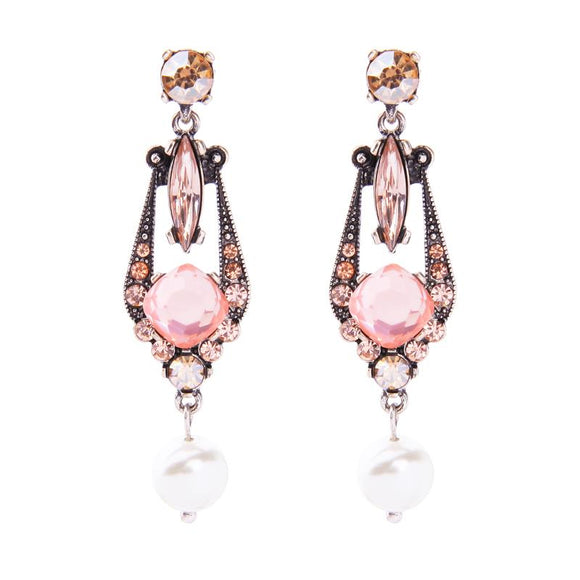 Blush Pink Gem Earring with Pearl