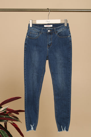 Anika Slim Frayed Leg Denims Mid Wash Blue
