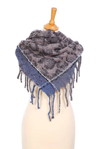 Grey Animal Print Square Scarf with Blue Border