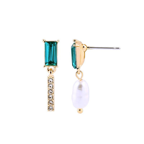 Elva Asymmetric Pearl and Emerald Earring