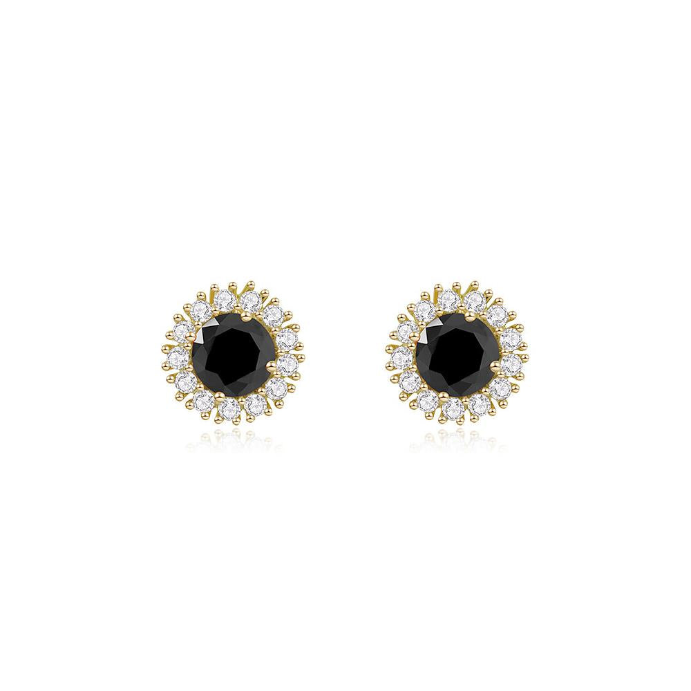 Eileen CZ Cluster Round Black Stud Earring
