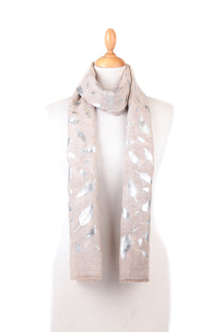 Becky Foil Leaf Print Scarf Taupe