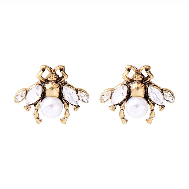 Little Bee Cream & Gold Earring