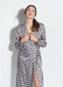 Billie Geometric Print Wrap Dress
