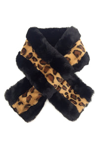 Kerry Half Leopard Faux Fur Wrap Scarf Black