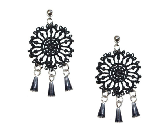 Tabetha Black Lace Earring