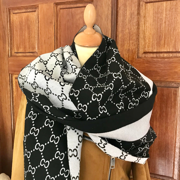 Reversible Black and Silver Cashmere Feel Scarf