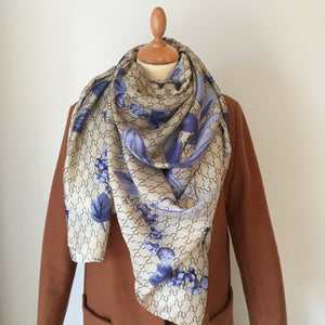 Blue Floral Print Silk Feel Scarf