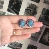 Blue with Lilac Oval Gem Earring
