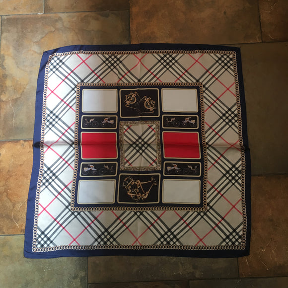 Burberry Style Silk Feel Square Scarf
