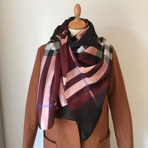 Burgundy Check Silk Feel Scarf