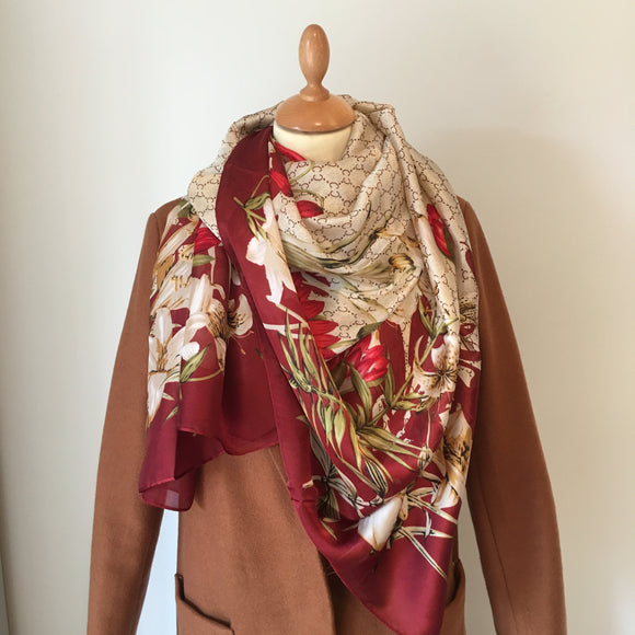 Burgundy Floral Silk Feel Scarf