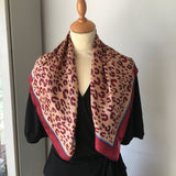 Burgundy and Toffee Leopard Print Square