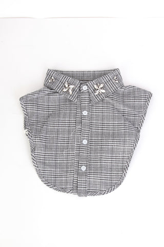 Grey Check Embellished Collar