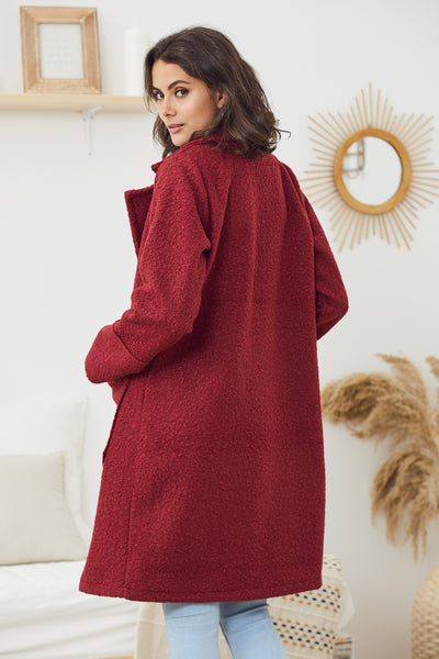 Callie Burgundy Teddy Coat