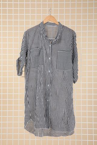 Cameron Black and White Stripe Shirt Dress