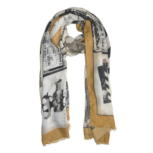 Cannes Print Scarf in Mustard