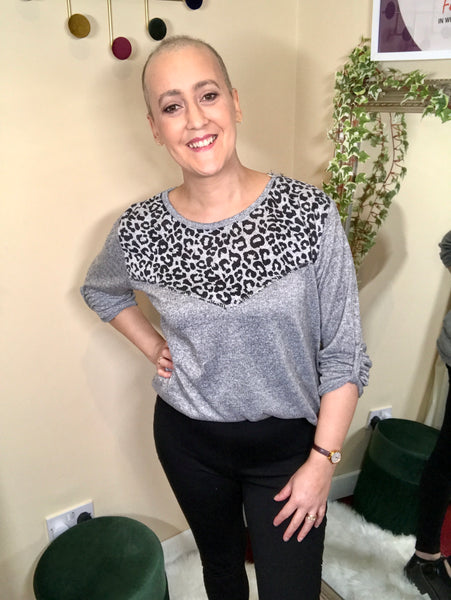 Caragh Animal Print Long Top Light Grey