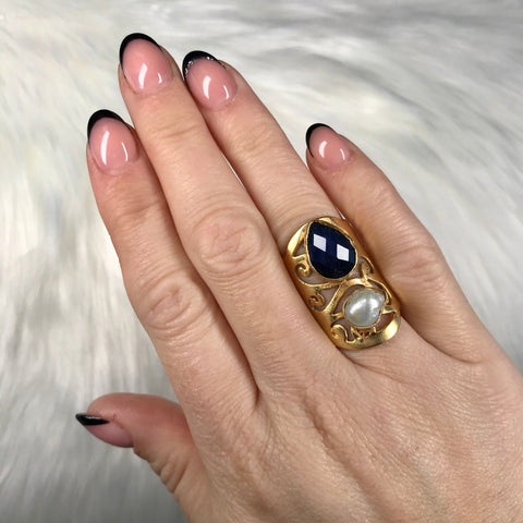 Carla Navy and Pearl Detail Ring