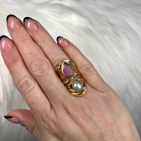 Carla Pink and Pearl Detail Ring