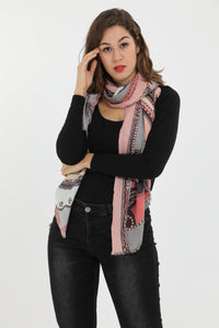 Carli Pink Print Rectangle Scarf