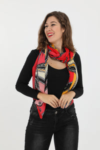 Carli Red Print Rectangle Scarf