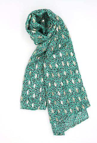 Cassandra Gold Leaf Scarf Green