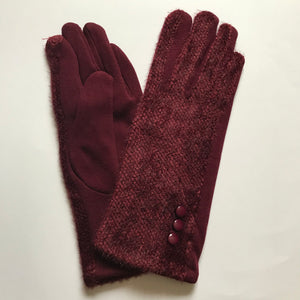 Charlotte Wool Mix Burgundy Gloves