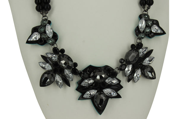 Cheryl Black Bead Necklace with Clear Stones