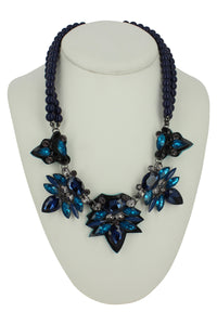 Cheryl Navy Bead Necklace with Blue & Teal Stones