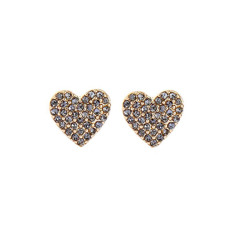 Chloe Gold Heart Earring with Pewter Crystals