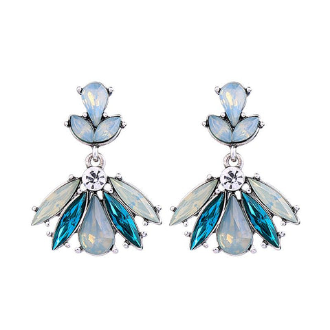 Clio Mint and Aqua Crystal Gem Earring